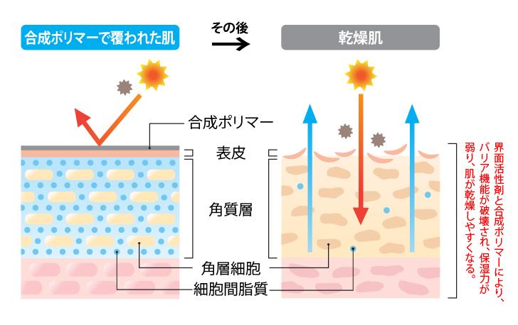 合成ポリマーで覆われた肌の乾燥