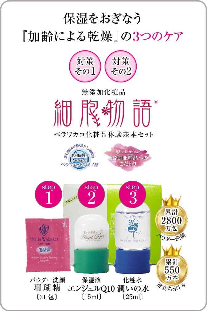 無添加化粧品 細胞物語 保湿をおぎなう『加齢による乾燥』の3つのケア スマホ用