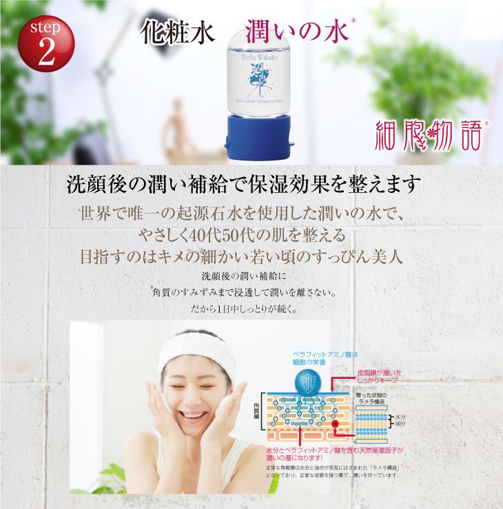 化粧水 潤いの水 洗顔後の潤い補給で保湿効果を整えます