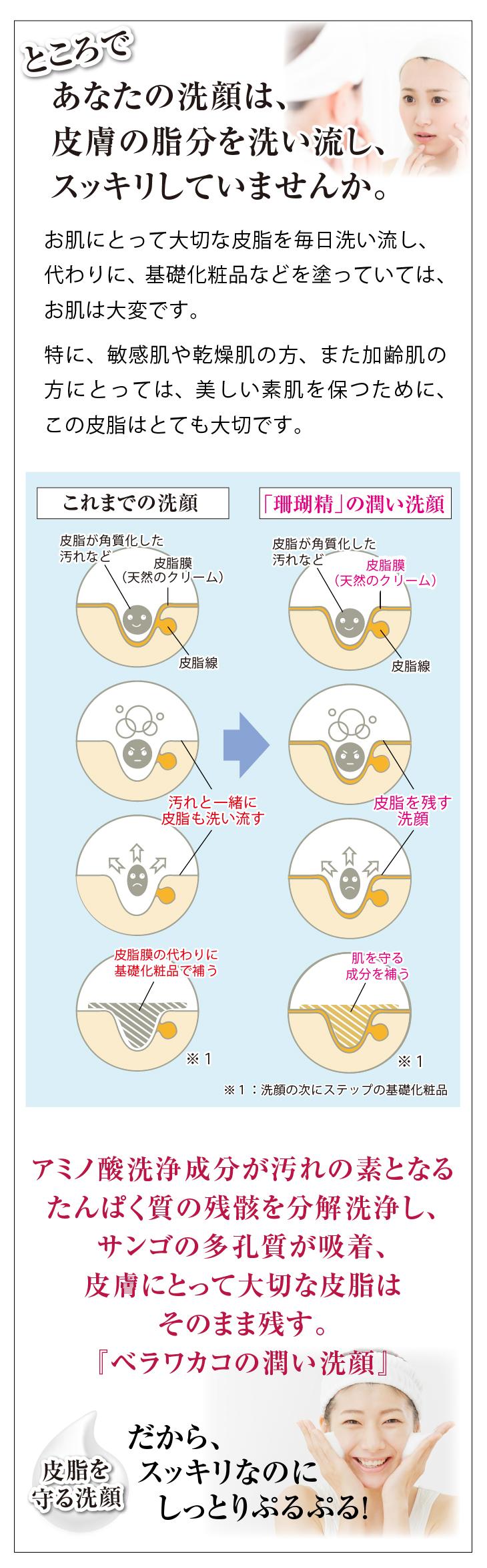 無添加化粧品のパウダー洗顔珊瑚精の新しい洗顔法 スマホ用